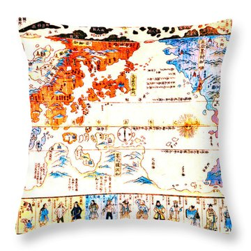 Japanese World Map 1800 Throw Pillow by Padre Art
