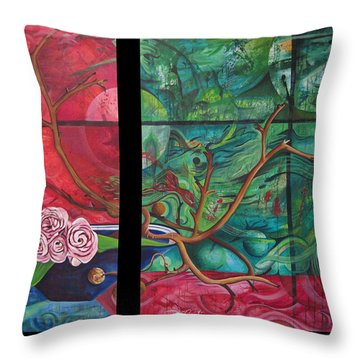 Throw Pillow featuring the painting Japanesse Flower Arrangment by Joshua Morton
