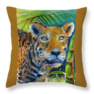 Throw Pillow featuring the painting Jaquar On The Prowl by Bernadette Krupa