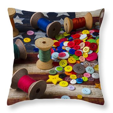 Jar Of Buttons And Spools Of Thread Throw Pillow by Garry Gay