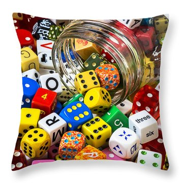 Jar Of Colorful Dice Throw Pillow by Garry Gay