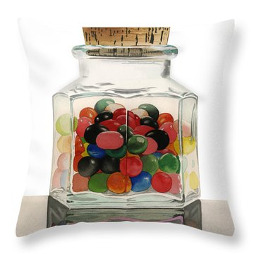 Jar Of Jelly Bellies Throw Pillow