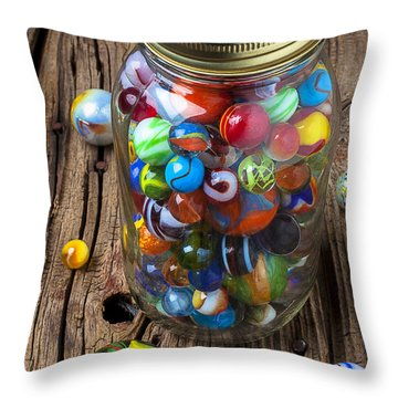 Jar Of Marbles With Shooter Throw Pillow by Garry Gay