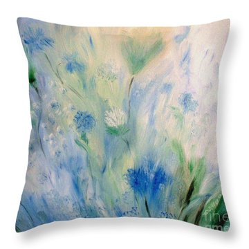 Jardin Bleu Throw Pillow by Julie Brugh Riffey
