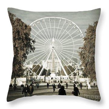 Jardin Des Tuileries Park Paris France Europe  Throw Pillow by Jon Boyes