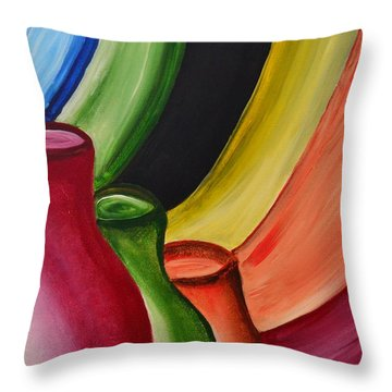 Jars Of Clay Colorful Abstract Art By Saribelle  Throw Pillow by Saribelle Rodriguez