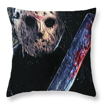 Jason Voorhees Throw Pillow by Taylan Apukovska