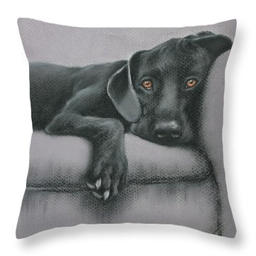 Throw Pillow featuring the drawing Jasper by Cynthia House