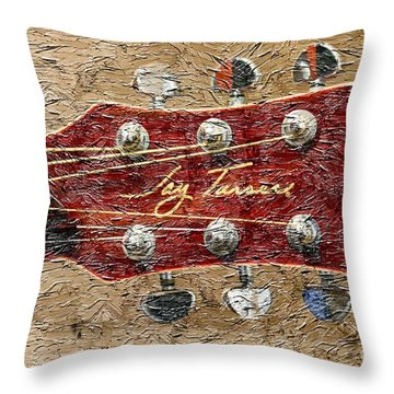 Jay Turser Guitar Head - Red Guitar - Digital Painting Throw Pillow by Barbara Griffin