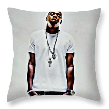 Jay-z Portrait Throw Pillow by Florian Rodarte