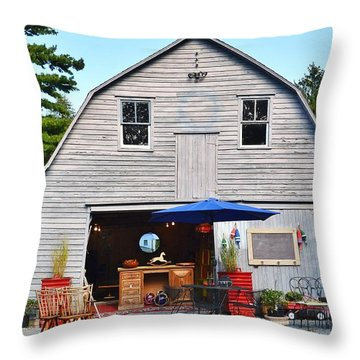 The Old Barn At Jaynes Reliable Antiques And Vintage Throw Pillow