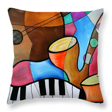 Jazz Band Inspired By Eric Waugh Throw Pillow