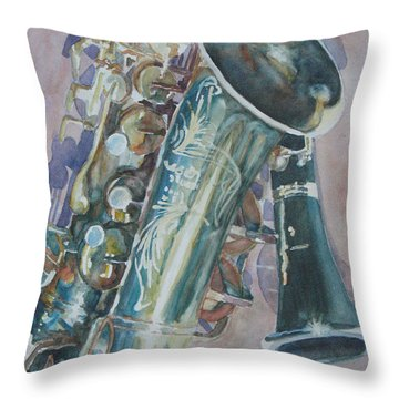 Jazz Buddies Throw Pillow by Jenny Armitage