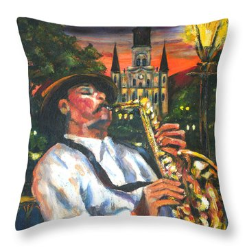 Jazz By Street Lamp Throw Pillow