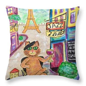 Jazz Cat Throw Pillow by Diane Pape
