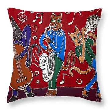 Jazz Cat Trio Throw Pillow