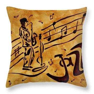 Jazz Coffee Painting Throw Pillow by Georgeta  Blanaru