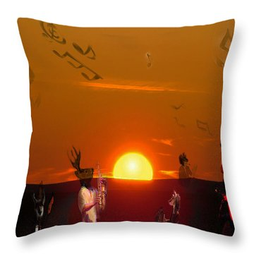 Throw Pillow featuring the digital art Jazz Fest by Cathy Anderson