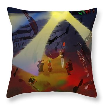 Throw Pillow featuring the digital art Jazz Fest II by Cathy Anderson