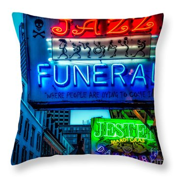 Jazz Funeral And Jester On Bourbon St. Throw Pillow by Kathleen K Parker