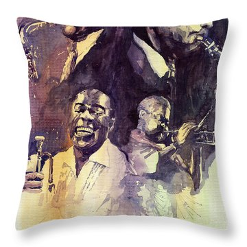 Jazz Legends Parker Gillespie Armstrong  Throw Pillow by Yuriy  Shevchuk