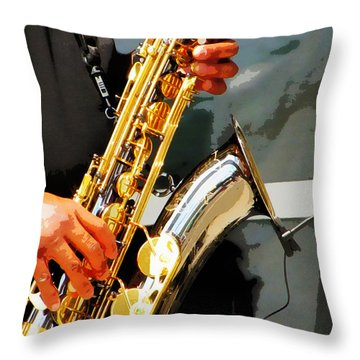 Throw Pillow featuring the photograph Jazz Man by John Freidenberg