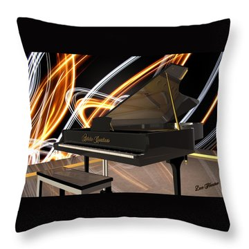 Jazz Piano Bar Throw Pillow by Louis Ferreira