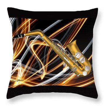 Jazz Saxaphone  Throw Pillow by Louis Ferreira
