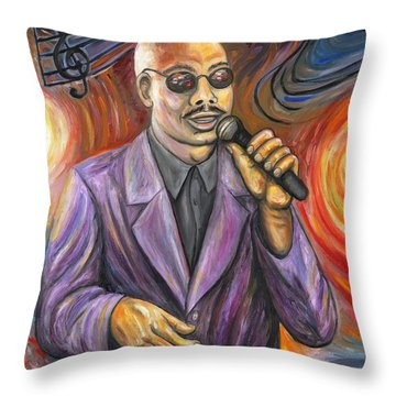 Jazz Singer Throw Pillow by Linda Mears
