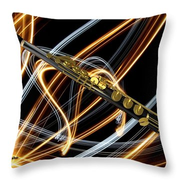 Jazz Soprano Sax Throw Pillow by Louis Ferreira