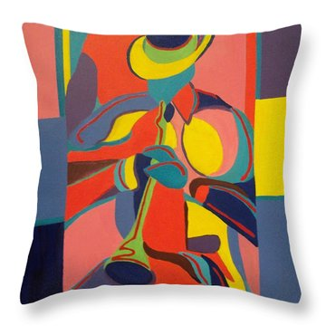 Jazzamatazz Horn Throw Pillow