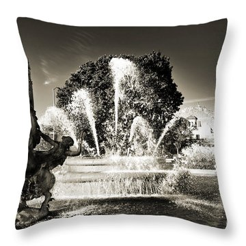Jc Nichols Memorial Fountain Bw 1 Throw Pillow