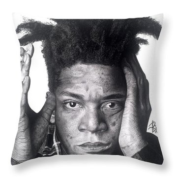 Jean-michel Basquiat Drawing Throw Pillow