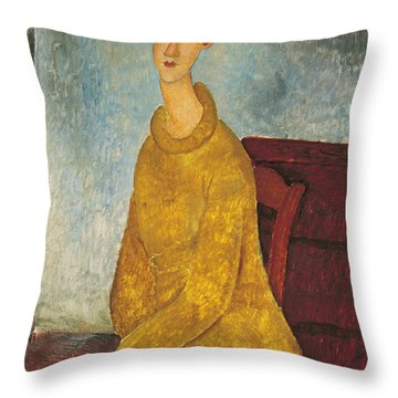 Jeanne Hebuterne In Yellow Sweater Throw Pillow by Amedeo Modigliani