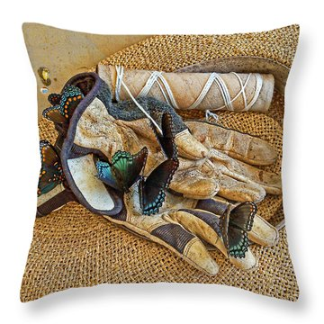 Jean's Butterflies Throw Pillow by Larry Bishop