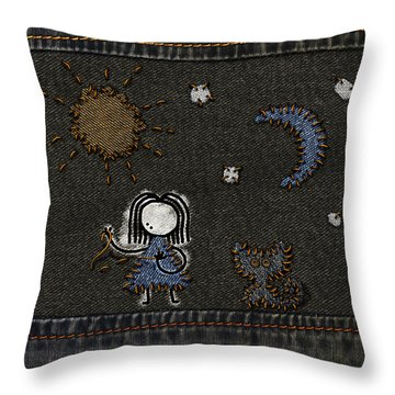 Jeans Stitches Throw Pillow by Gianfranco Weiss