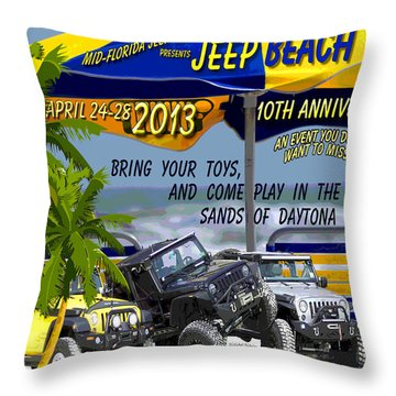 Throw Pillow featuring the photograph Jeep Beach 2013 Welcomes All Jeepers by DigiArt Diaries by Vicky B Fuller