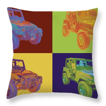 Jeep Wrangler Rubicon Pop Art Throw Pillow
