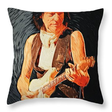 Jeff Beck Throw Pillow by Taylan Apukovska