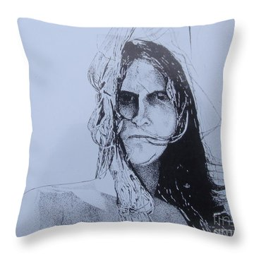 Throw Pillow featuring the drawing Jeff by Stuart Engel