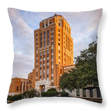 Jefferson County Courthouse At Sunrise - Beaumont East Texas Throw Pillow