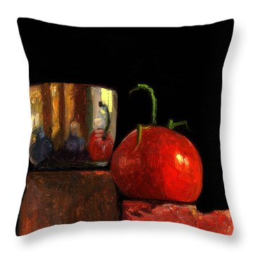 Jefferson Cup With Tomato And Sedona Bricks Throw Pillow by Catherine Twomey