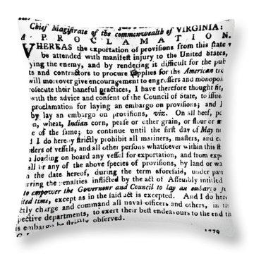 Jefferson: Embargo, 1779 Throw Pillow by Granger