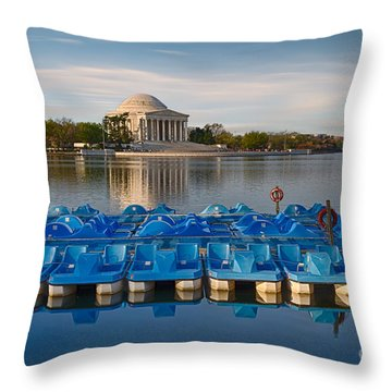 Jefferson Memorial And Paddle Boats Throw Pillow by Jerry Fornarotto