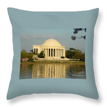 Jefferson Memorial At Sunset Throw Pillow by Emmy Vickers