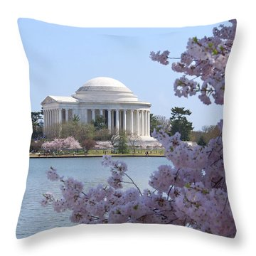 Jefferson Memorial - Cherry Blossoms Throw Pillow by Mike McGlothlen