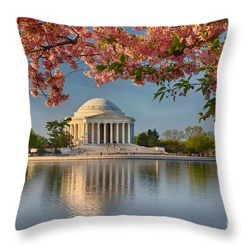 Jefferson Memorial In Spring Throw Pillow