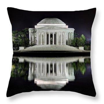 Jefferson Memorial - Night Reflection Throw Pillow