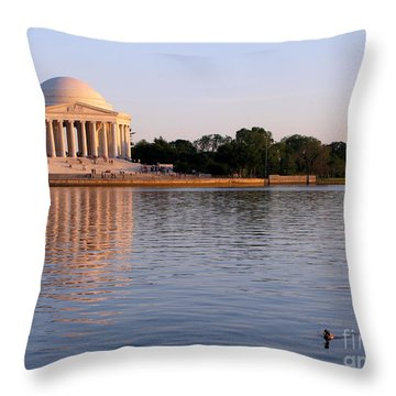 Jefferson Memorial Throw Pillow by Olivier Le Queinec