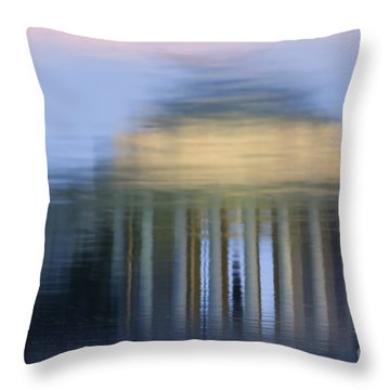 Jefferson Memorial Reflection Throw Pillow by Clarence Holmes
